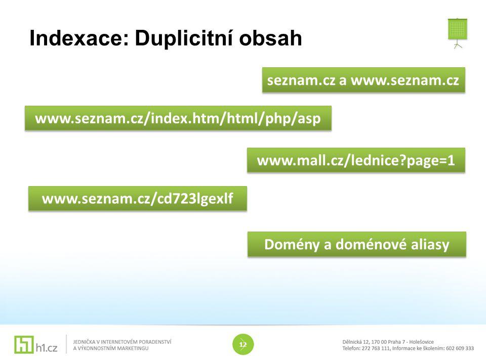 Indexace: Duplicitní obsah 12 seznam.cz a www.seznam.cz www.seznam.cz/index.htm/html/php/asp www.mall.cz/lednice?page=1 www.seznam.cz/cd723lgexlf Domé