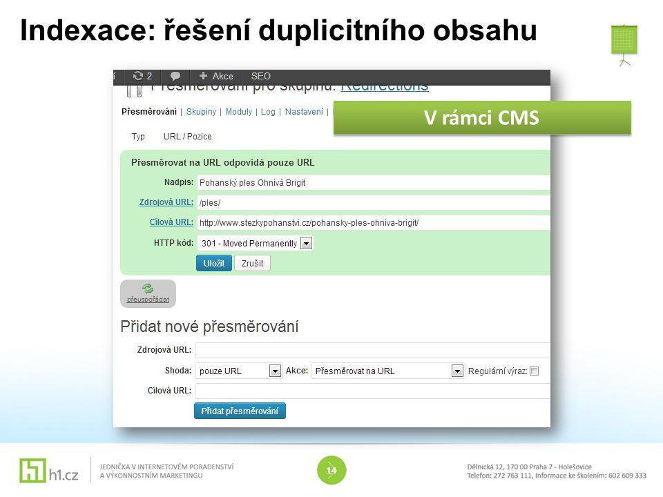 Indexace: řešení duplicitního obsahu 14 V rámci CMS