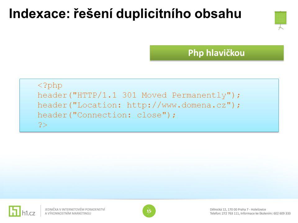 Indexace: řešení duplicitního obsahu 15 Php hlavičkou