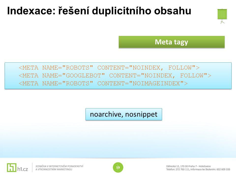 Indexace: řešení duplicitního obsahu 19 Meta tagy noarchive, nosnippet