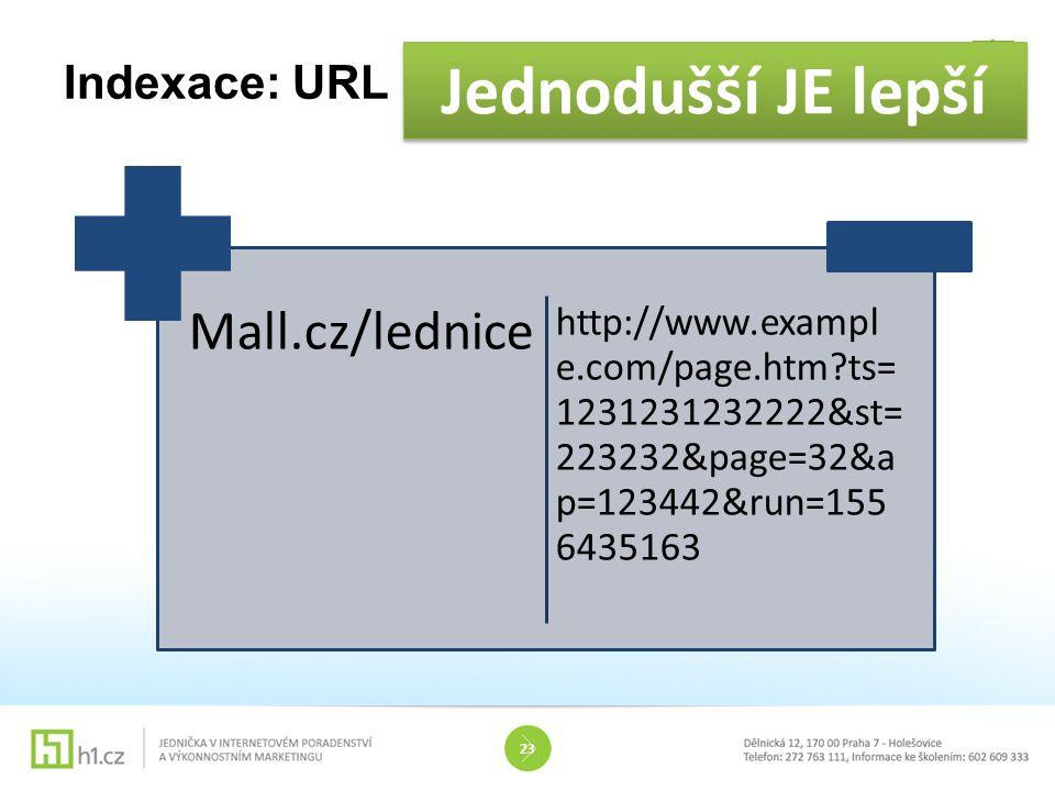 Indexace: URL 23 Jednodušší JE lepší Mall.cz/lednice http://www.exampl e.com/page.htm?ts= 1231231232222&st =223232&page=32& ap=123442&run=15 56435163