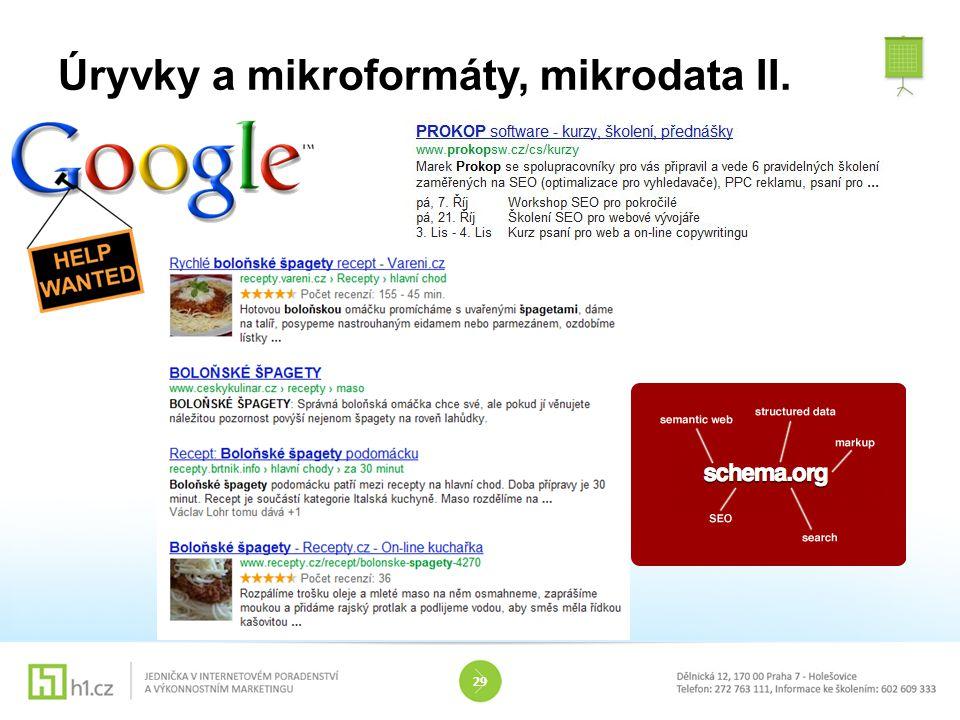 Úryvky a mikroformáty, mikrodata II. 29