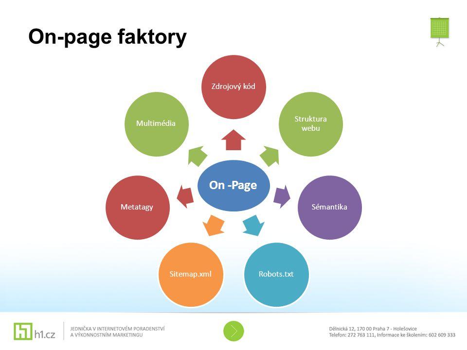 On-page faktory On -Page Zdrojový kód Struktura webu SémantikaRobots.txtSitemap.xmlMetatagyMultimédia