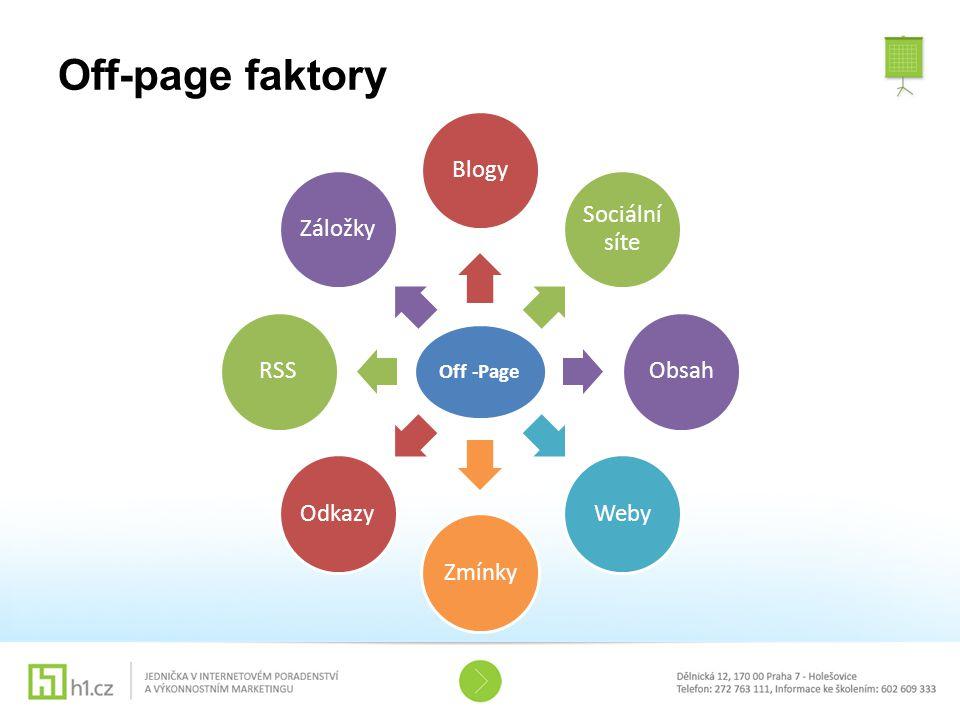 Off-page faktory Off -Page Blogy Sociální síte Obsah Weby Zmínky Odkazy RSS Záložky