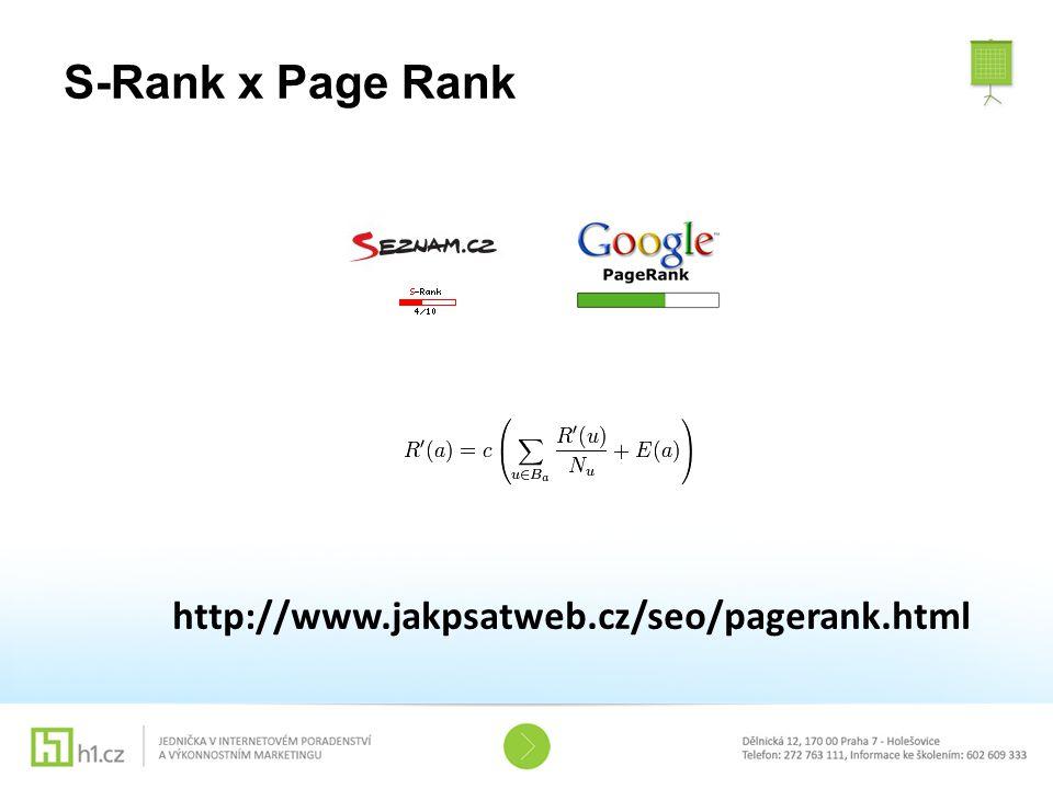 http://www.jakpsatweb.cz/seo/pagerank.html S-Rank x Page Rank