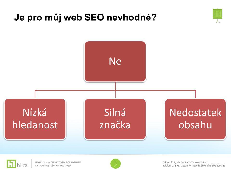 Je pro můj web SEO nevhodné? Ne Nízká hledanost Silná značka Nedostatek obsahu