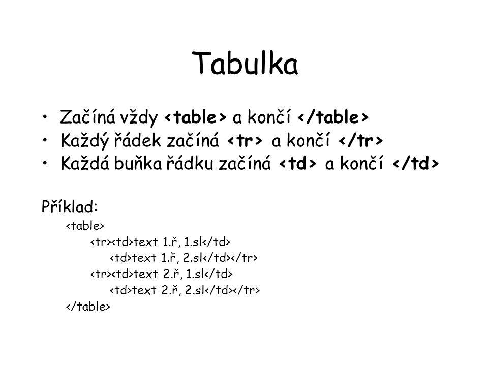Tabulka Začíná vždy a končí Každý řádek začíná a končí Každá buňka řádku začíná a končí Příklad: text 1.ř, 1.sl text 1.ř, 2.sl text 2.ř, 1.sl text 2.ř