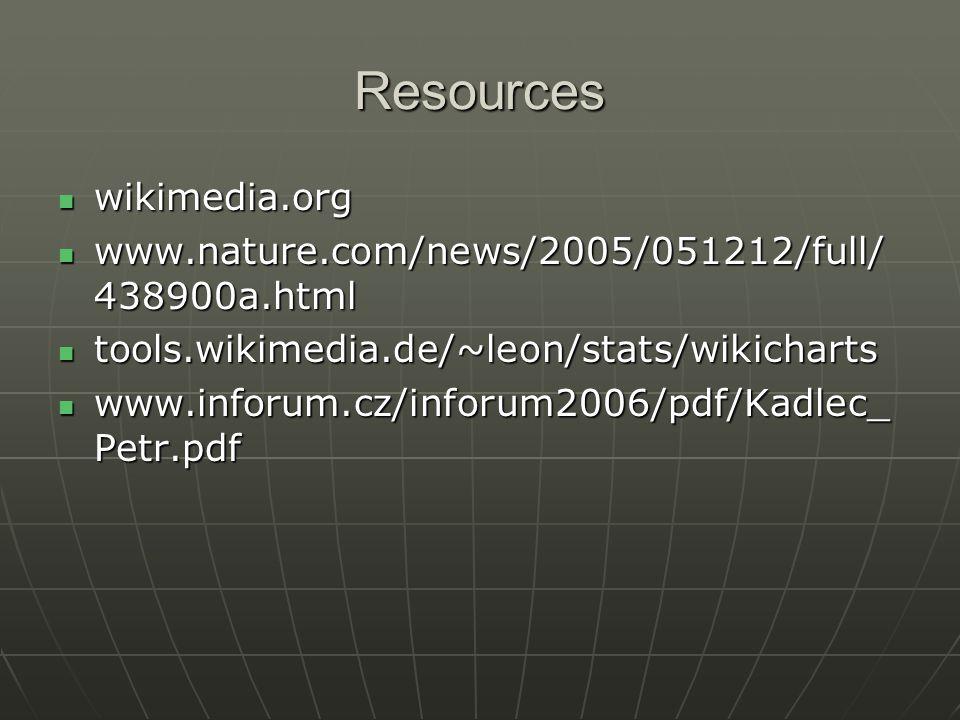 Resources wikimedia.org wikimedia.org www.nature.com/news/2005/051212/full/ 438900a.html www.nature.com/news/2005/051212/full/ 438900a.html tools.wikimedia.de/~leon/stats/wikicharts tools.wikimedia.de/~leon/stats/wikicharts www.inforum.cz/inforum2006/pdf/Kadlec_ Petr.pdf www.inforum.cz/inforum2006/pdf/Kadlec_ Petr.pdf
