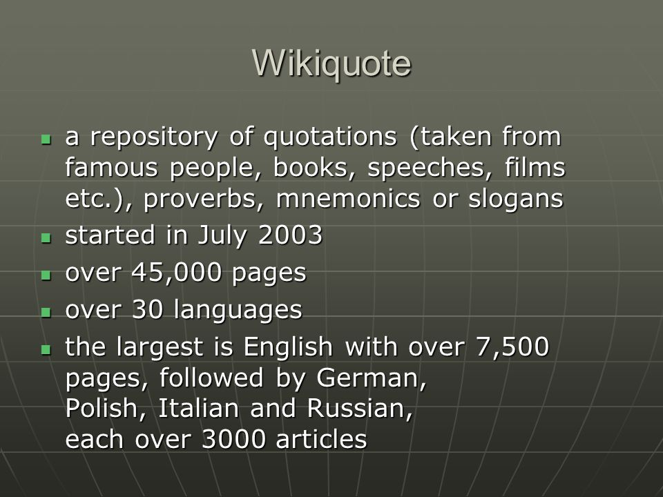 Wikipedia in Czech (Wikipedie) cs.wikipedia.org/wiki cs.wikipedia.org/wiki wikipedia.infostar.cz (navajo.cz) wikipedia.infostar.cz (navajo.cz) computer-assisted translation from English (Eurotran)computer-assisted translation from English (Eurotran) very poor qualityvery poor quality published by Microton (Czech company, producer of the software)published by Microton (Czech company, producer of the software)