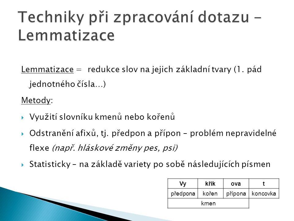 Lemmatizace = redukce slov na jejich základní tvary (1. pád jednotného čísla…) Metody:  Využití slovníku kmenů nebo kořenů  Odstranění afixů, tj. př