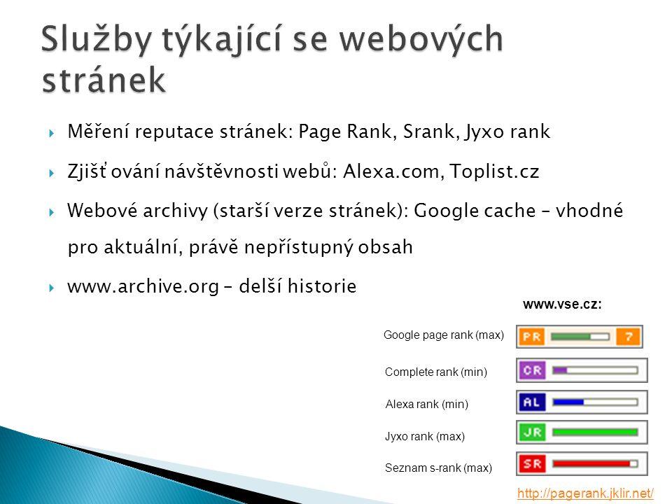  Měření reputace stránek: Page Rank, Srank, Jyxo rank  Zjišťování návštěvnosti webů: Alexa.com, Toplist.cz  Webové archivy (starší verze stránek): Google cache – vhodné pro aktuální, právě nepřístupný obsah  www.archive.org – delší historie www.vse.cz: Jyxo rank (max) Alexa rank (min) Complete rank (min) Seznam s-rank (max) Google page rank (max) http://pagerank.jklir.net/
