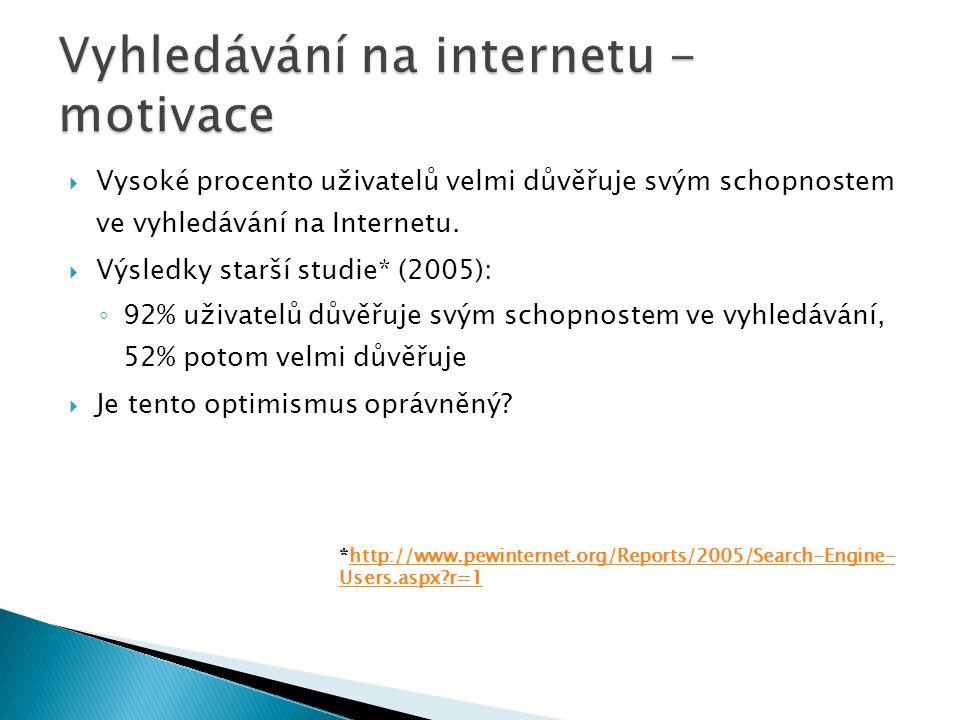  Vysoké procento uživatelů velmi důvěřuje svým schopnostem ve vyhledávání na Internetu.  Výsledky starší studie* (2005): ◦ 92% uživatelů důvěřuje sv