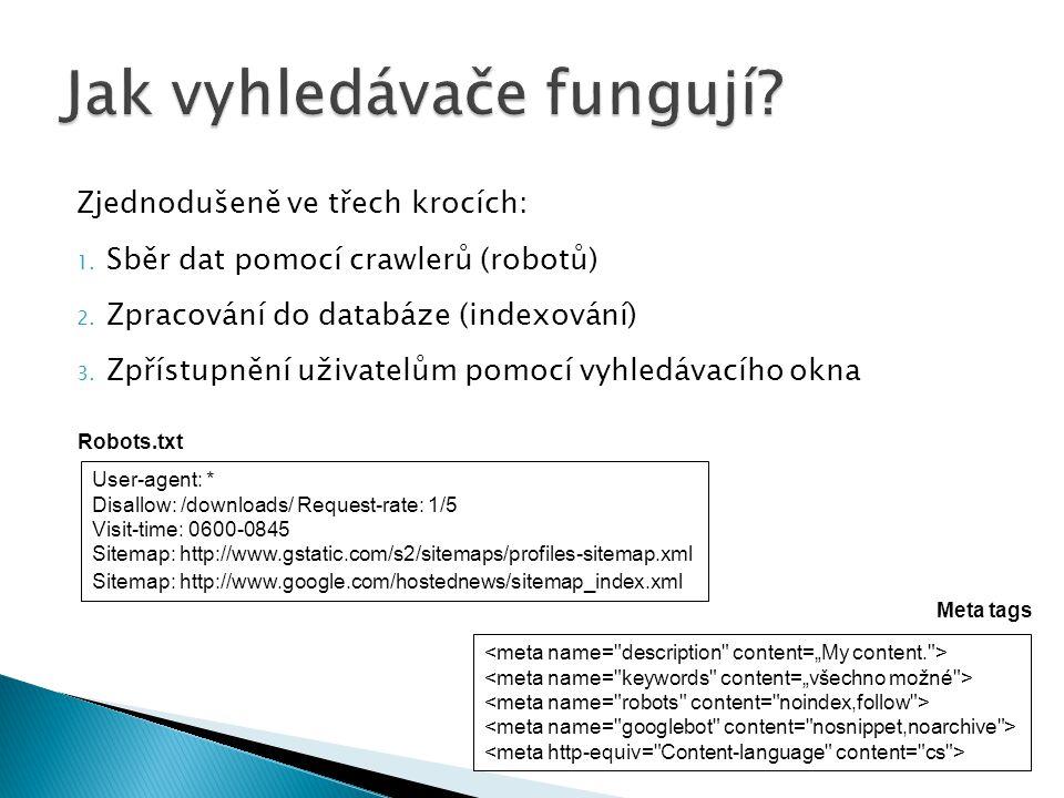 Zjednodušeně ve třech krocích: 1. Sběr dat pomocí crawlerů (robotů) 2. Zpracování do databáze (indexování) 3. Zpřístupnění uživatelům pomocí vyhledáva