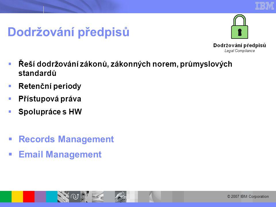 © 2007 IBM Corporation Dodržování předpisů  Řeší dodržování zákonů, zákonných norem, průmyslových standardů  Retenční periody  Přístupová práva  Spolupráce s HW  Records Management  Email Management