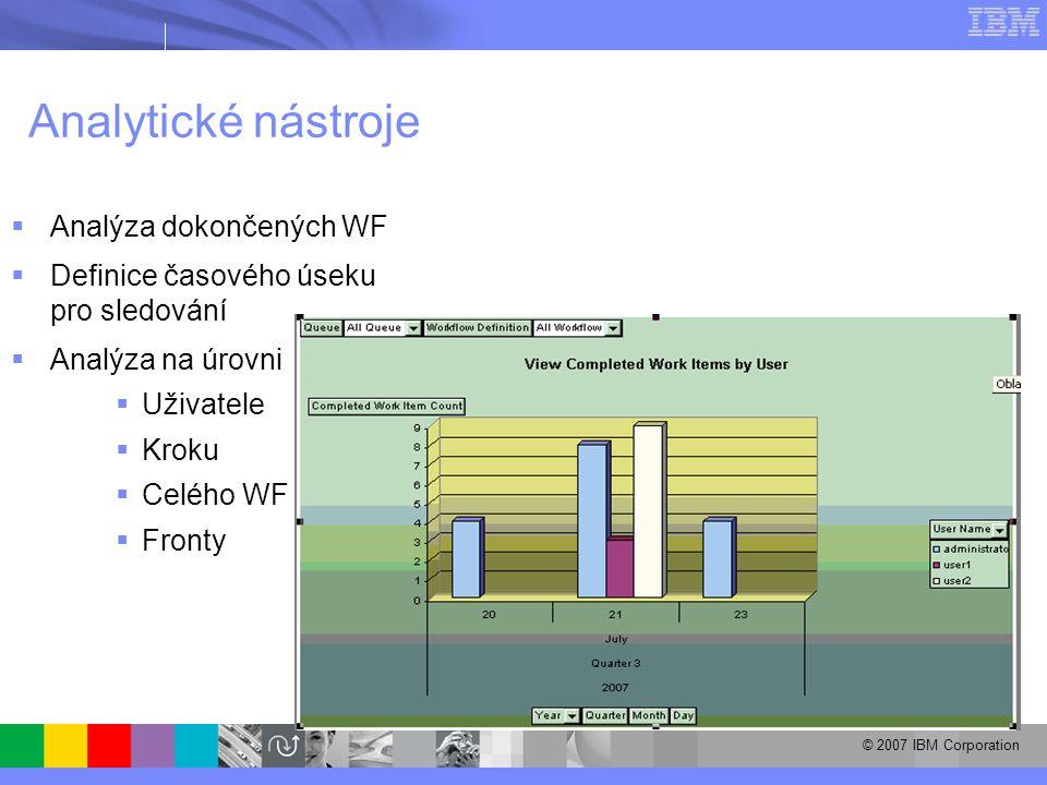 © 2007 IBM Corporation Analytické nástroje  Analýza dokončených WF  Definice časového úseku pro sledování  Analýza na úrovni  Uživatele  Kroku  Celého WF  Fronty
