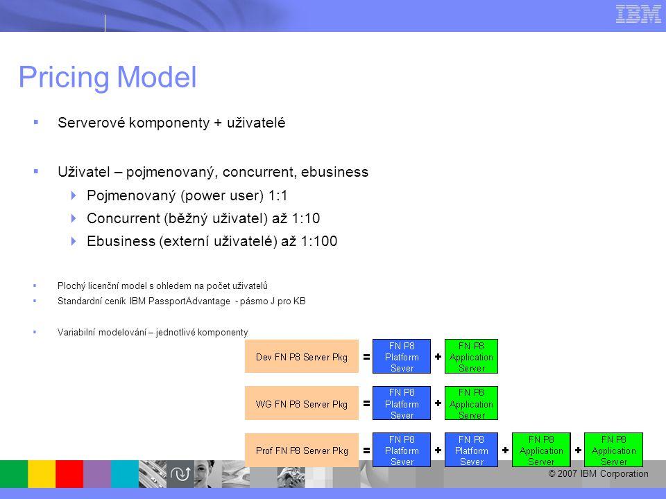 © 2007 IBM Corporation Pricing Model  Serverové komponenty + uživatelé  Uživatel – pojmenovaný, concurrent, ebusiness  Pojmenovaný (power user) 1:1  Concurrent (běžný uživatel) až 1:10  Ebusiness (externí uživatelé) až 1:100  Plochý licenční model s ohledem na počet uživatelů  Standardní ceník IBM PassportAdvantage - pásmo J pro KB  Variabilní modelování – jednotlivé komponenty
