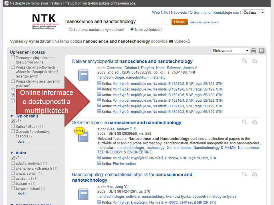 Online informace o dostupnosti a multiplikátech