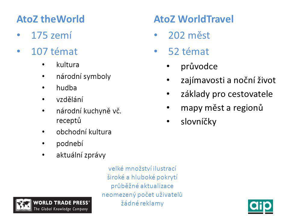 AtoZ theWorld 175 zemí 107 témat kultura národní symboly hudba vzdělání národní kuchyně vč.