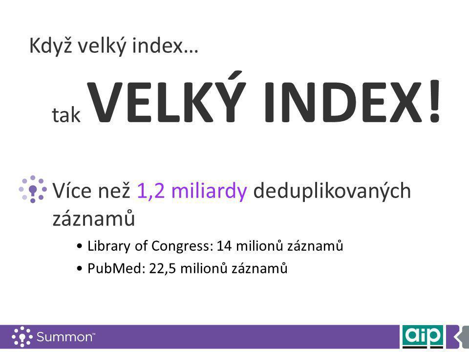 Když velký index… tak VELKÝ INDEX.