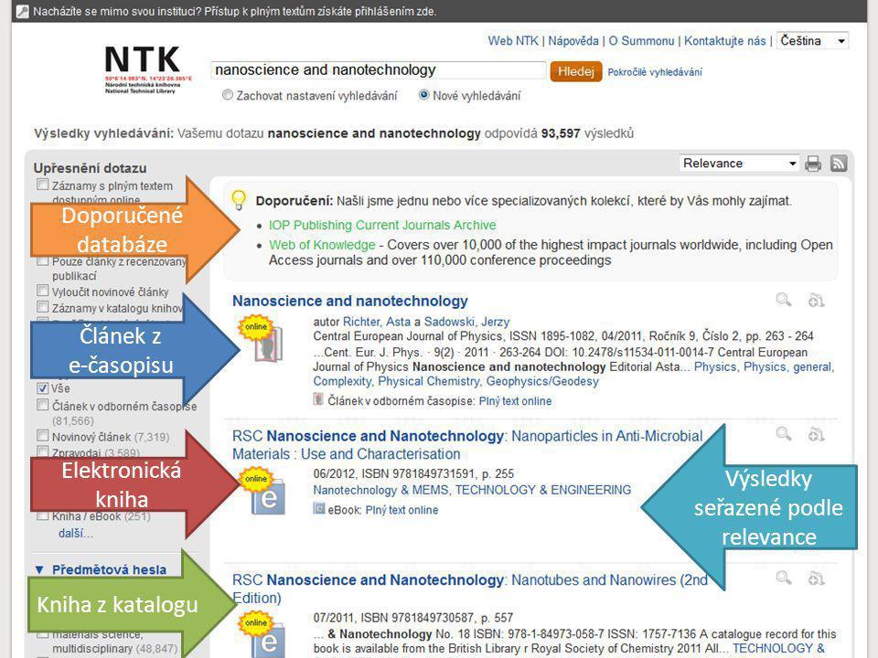 Článek z e-časopisu Doporučené databáze Kniha z katalogu Elektronická kniha Výsledky seřazené podle relevance