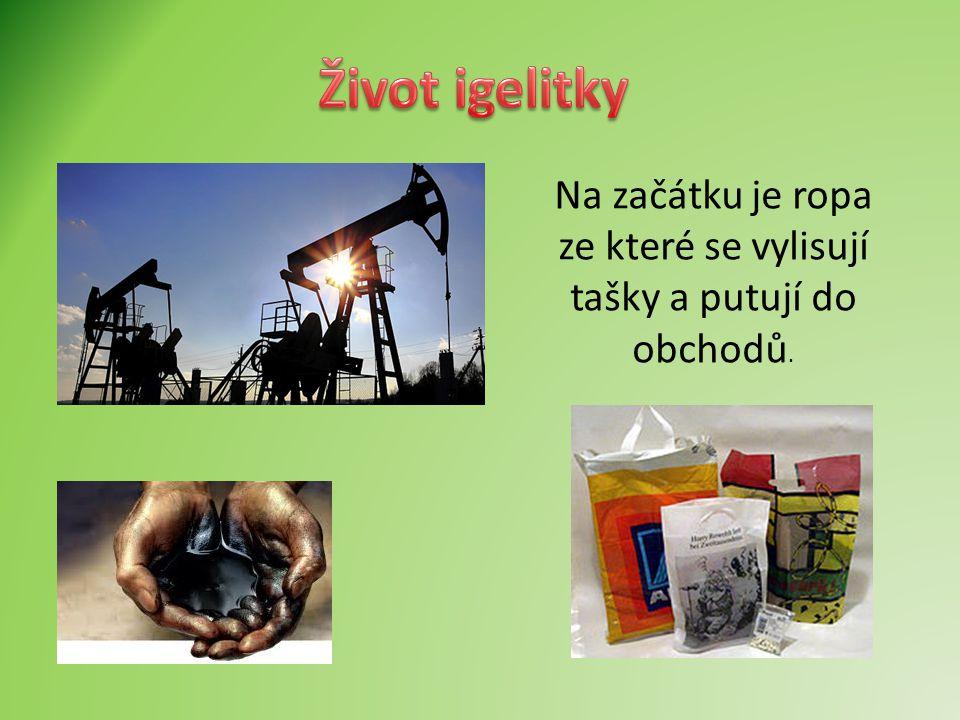 Na začátku je ropa ze které se vylisují tašky a putují do obchodů.