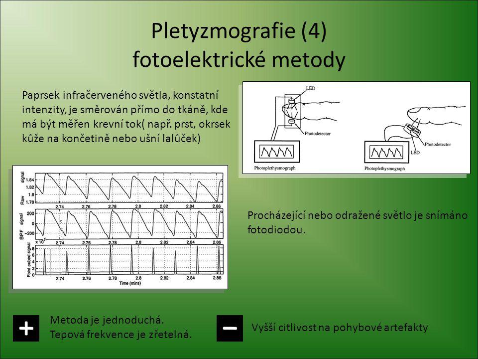 Pletyzmografie (4) fotoelektrické metody Paprsek infračerveného světla, konstatní intenzity, je směrován přímo do tkáně, kde má být měřen krevní tok(