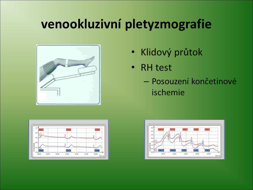 venookluzivní pletyzmografie Klidový průtok RH test – Posouzení končetinové ischemie