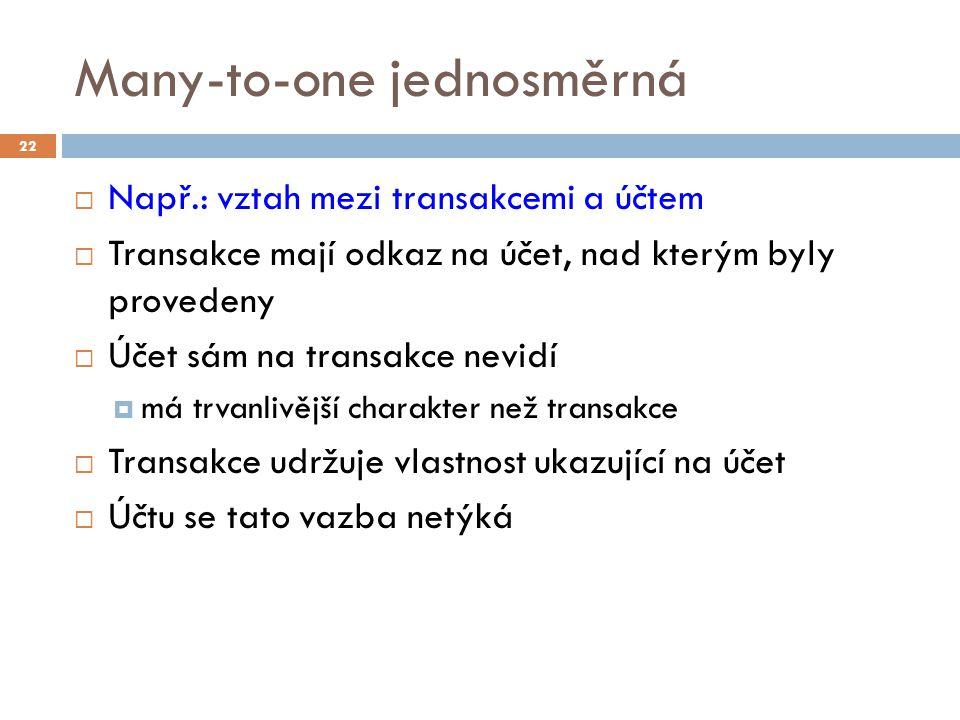 Many-to-one jednosměrná  Např.: vztah mezi transakcemi a účtem  Transakce mají odkaz na účet, nad kterým byly provedeny  Účet sám na transakce nevidí  má trvanlivější charakter než transakce  Transakce udržuje vlastnost ukazující na účet  Účtu se tato vazba netýká 22