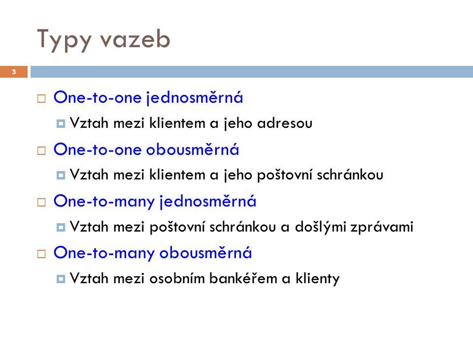 Typy vazeb  One-to-one jednosměrná  Vztah mezi klientem a jeho adresou  One-to-one obousměrná  Vztah mezi klientem a jeho poštovní schránkou  One-to-many jednosměrná  Vztah mezi poštovní schránkou a došlými zprávami  One-to-many obousměrná  Vztah mezi osobním bankéřem a klienty 3