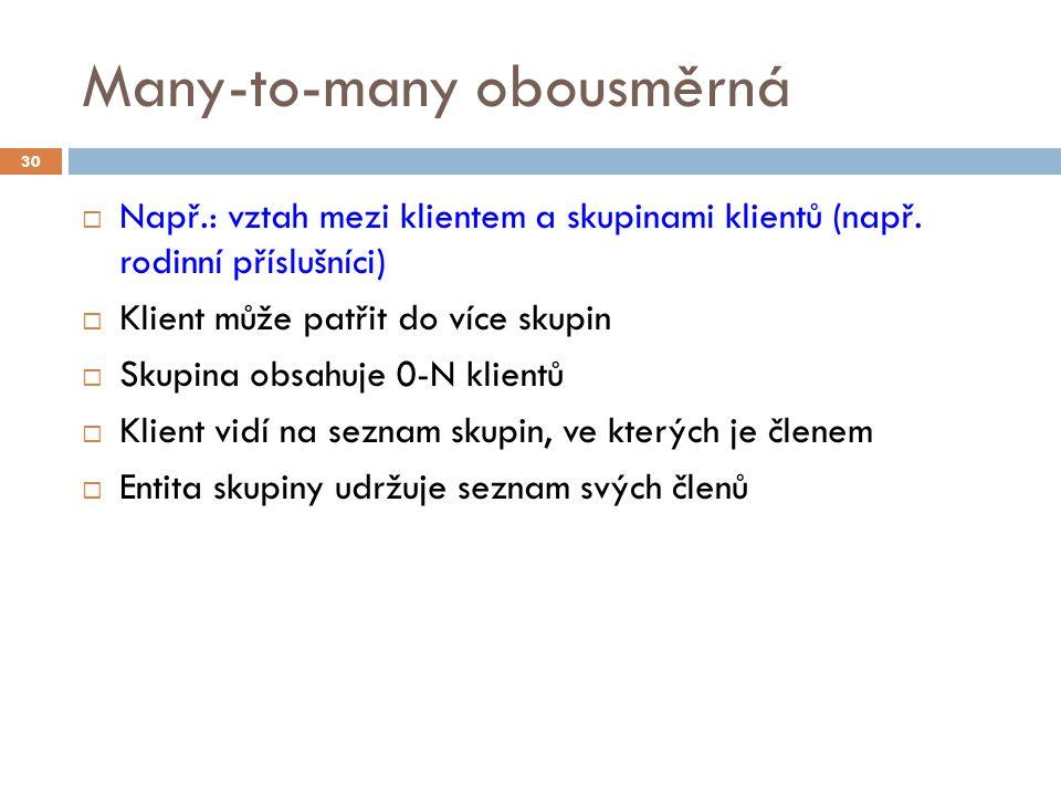Many-to-many obousměrná  Např.: vztah mezi klientem a skupinami klientů (např.