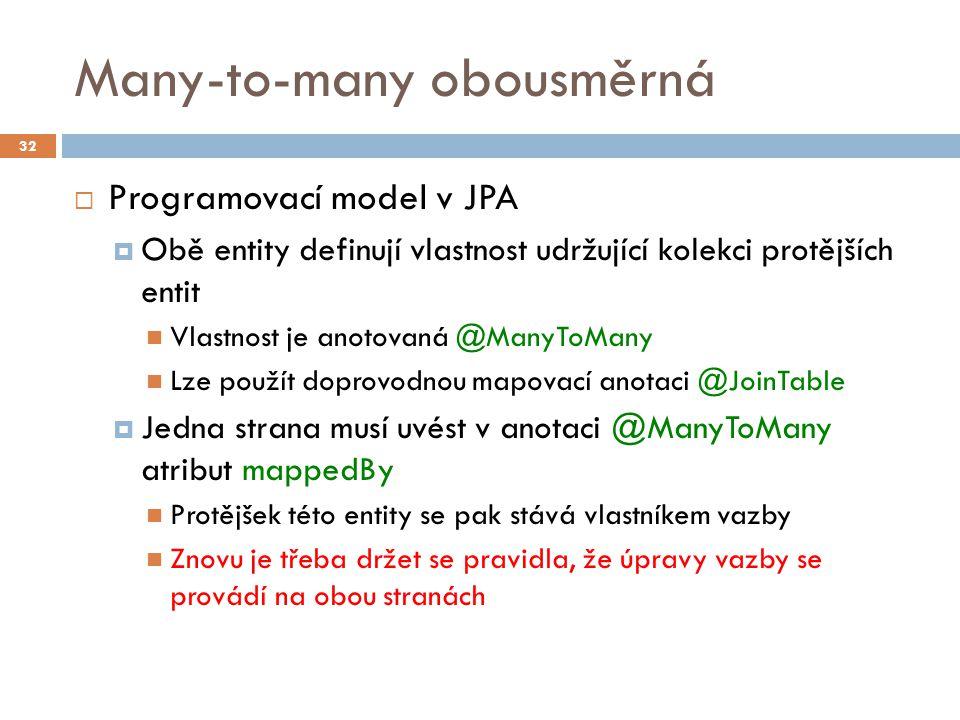 Many-to-many obousměrná  Programovací model v JPA  Obě entity definují vlastnost udržující kolekci protějších entit Vlastnost je anotovaná @ManyToMany Lze použít doprovodnou mapovací anotaci @JoinTable  Jedna strana musí uvést v anotaci @ManyToMany atribut mappedBy Protějšek této entity se pak stává vlastníkem vazby Znovu je třeba držet se pravidla, že úpravy vazby se provádí na obou stranách 32