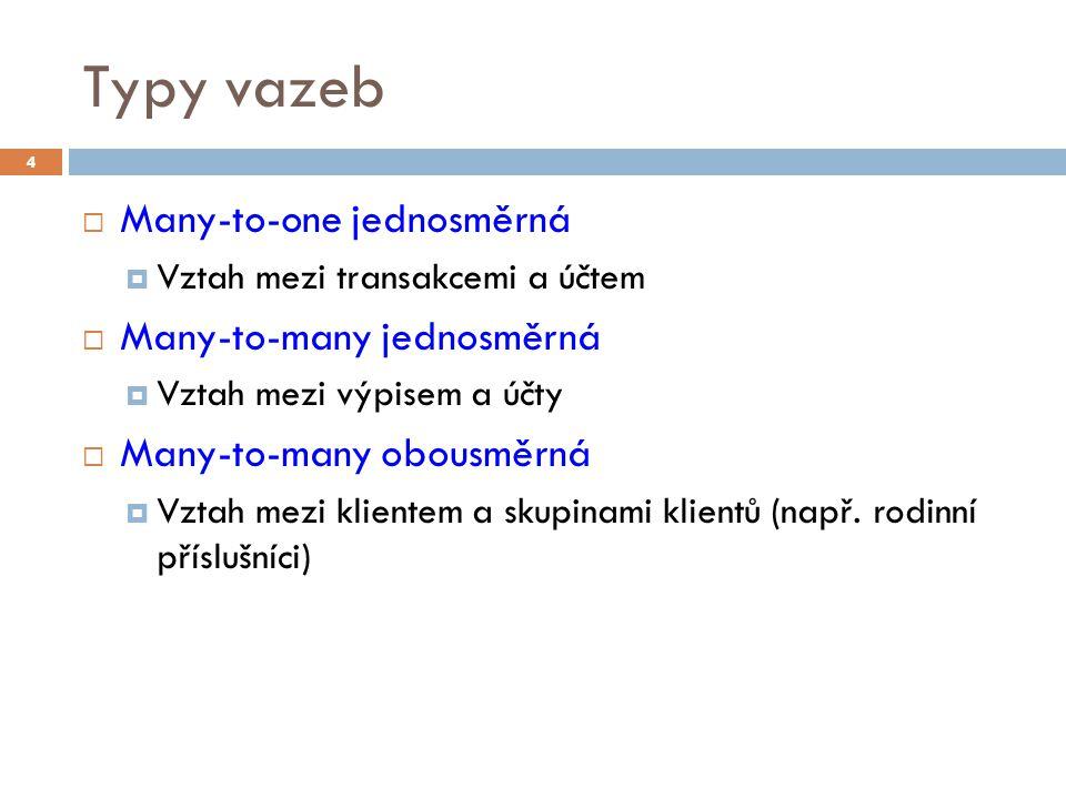 Typy vazeb  Many-to-one jednosměrná  Vztah mezi transakcemi a účtem  Many-to-many jednosměrná  Vztah mezi výpisem a účty  Many-to-many obousměrná  Vztah mezi klientem a skupinami klientů (např.