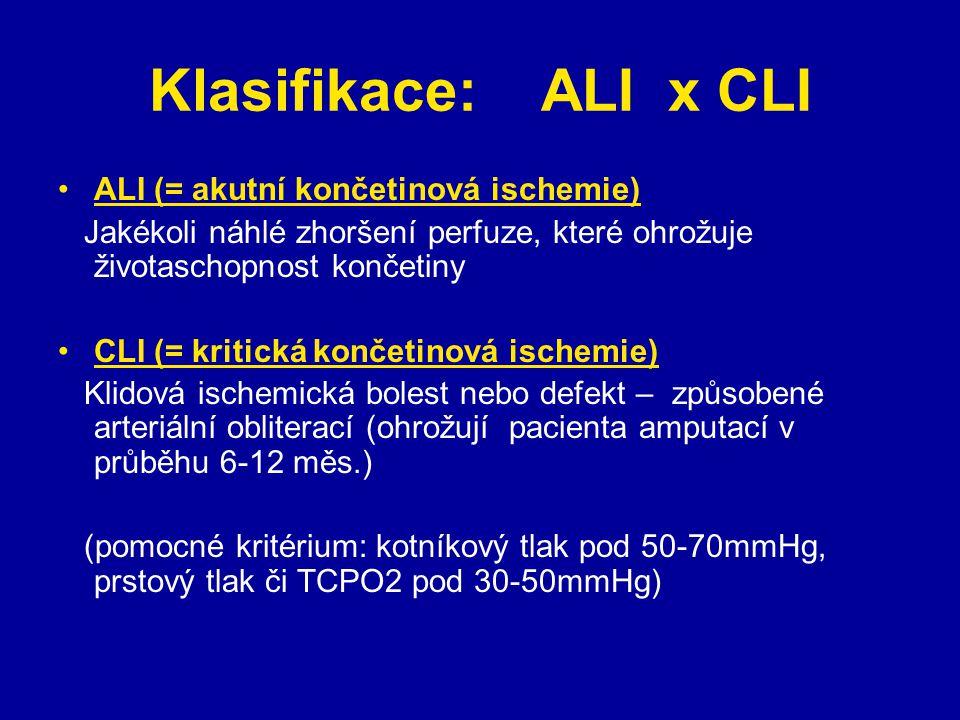 Klasifikace: ALI x CLI ALI (= akutní končetinová ischemie) Jakékoli náhlé zhoršení perfuze, které ohrožuje životaschopnost končetiny CLI (= kritická končetinová ischemie) Klidová ischemická bolest nebo defekt – způsobené arteriální obliterací (ohrožují pacienta amputací v průběhu 6-12 měs.) (pomocné kritérium: kotníkový tlak pod 50-70mmHg, prstový tlak či TCPO2 pod 30-50mmHg)