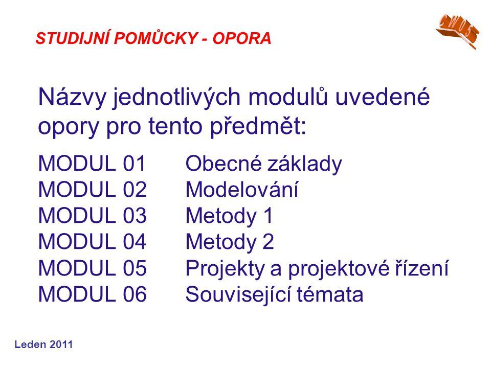 Leden 2011 Názvy jednotlivých modulů uvedené opory pro tento předmět: MODUL 01Obecné základy MODUL 02 Modelování MODUL 03 Metody 1 MODUL 04Metody 2 MODUL 05Projekty a projektové řízení MODUL 06Související témata STUDIJNÍ POMŮCKY - OPORA