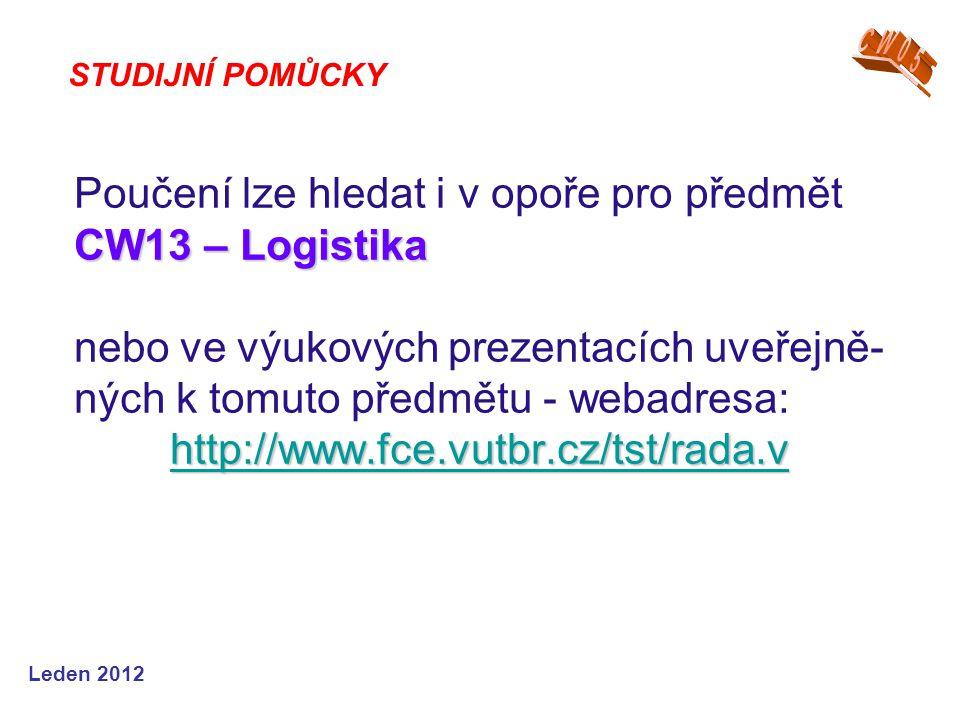 Leden 2012 CW13 – Logistika http://www.fce.vutbr.cz/tst/rada.v Poučení lze hledat i v opoře pro předmět CW13 – Logistika nebo ve výukových prezentacích uveřejně- ných k tomuto předmětu - webadresa: http://www.fce.vutbr.cz/tst/rada.v http://www.fce.vutbr.cz/tst/rada.v STUDIJNÍ POMŮCKY