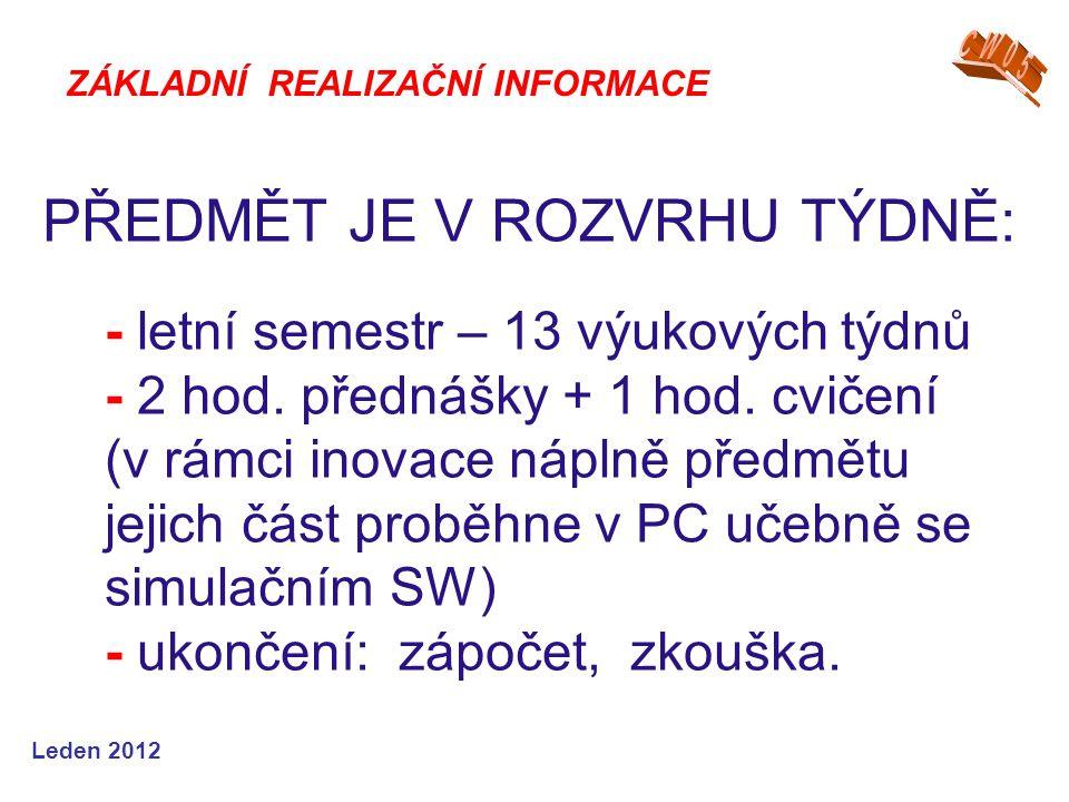 Leden 2012 PŘEDMĚT JE V ROZVRHU TÝDNĚ: - letní semestr – 13 výukových týdnů - 2 hod. přednášky + 1 hod. cvičení (v rámci inovace náplně předmětu jejic