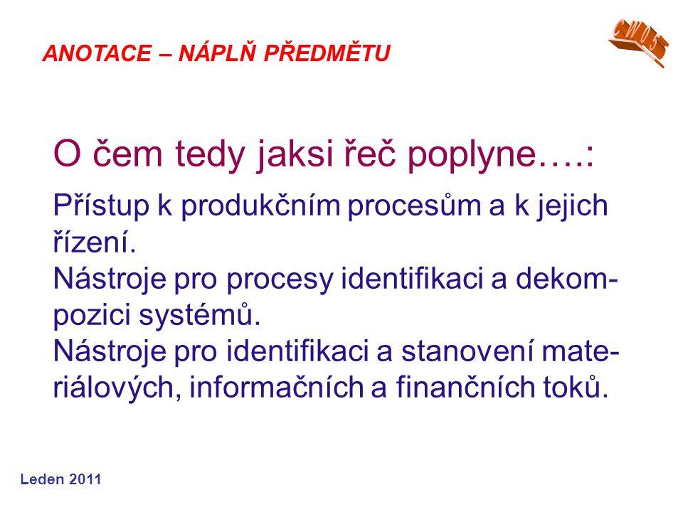 Leden 2011 O čem tedy jaksi řeč poplyne….: Přístup k produkčním procesům a k jejich řízení. Nástroje pro procesy identifikaci a dekom- pozici systémů.