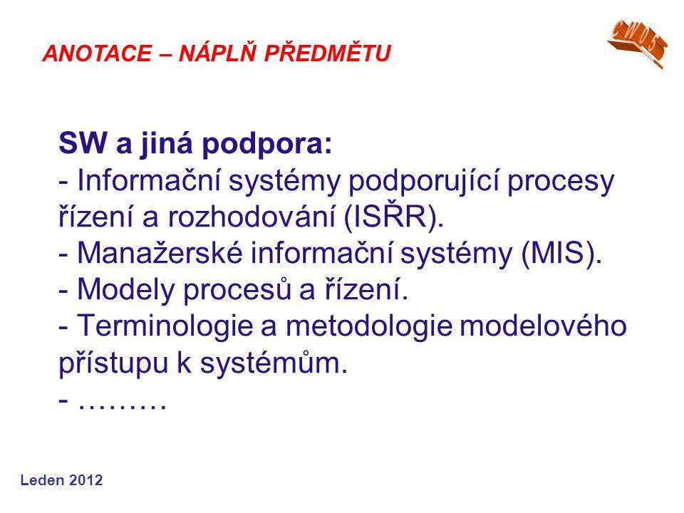 Leden 2012 SW a jiná podpora: - Informační systémy podporující procesy řízení a rozhodování (ISŘR). - Manažerské informační systémy (MIS). - Modely pr