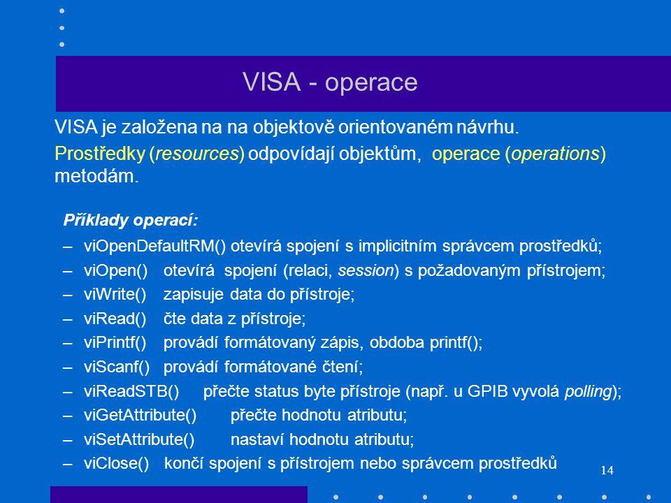 14 VISA - operace VISA je založena na na objektově orientovaném návrhu.
