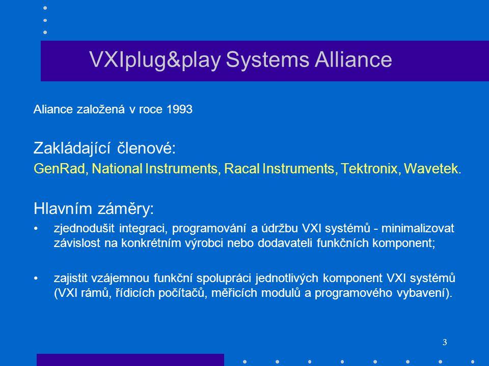 3 VXIplug&play Systems Alliance Aliance založená v roce 1993 Zakládající členové: GenRad, National Instruments, Racal Instruments, Tektronix, Wavetek.