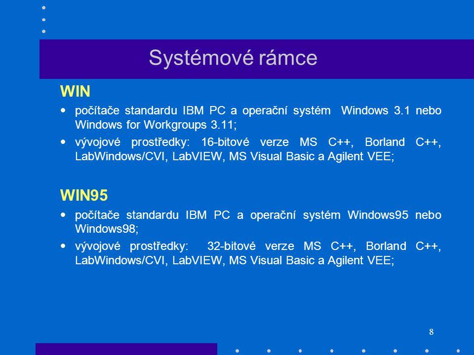 8 WIN  počítače standardu IBM PC a operační systém Windows 3.1 nebo Windows for Workgroups 3.11;  vývojové prostředky: 16-bitové verze MS C++, Borland C++, LabWindows/CVI, LabVIEW, MS Visual Basic a Agilent VEE; WIN95  počítače standardu IBM PC a operační systém Windows95 nebo Windows98;  vývojové prostředky: 32-bitové verze MS C++, Borland C++, LabWindows/CVI, LabVIEW, MS Visual Basic a Agilent VEE;