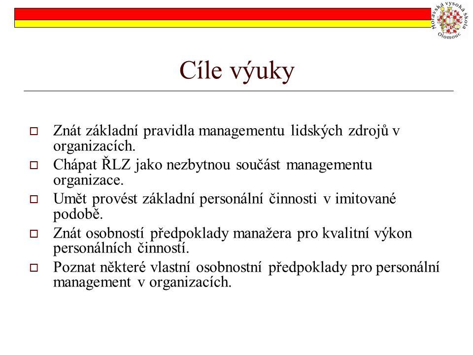 Cíle výuky  Znát základní pravidla managementu lidských zdrojů v organizacích.  Chápat ŘLZ jako nezbytnou součást managementu organizace.  Umět pro