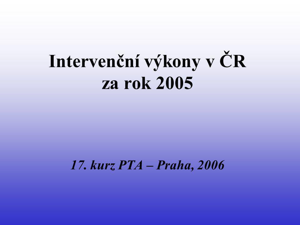 PTA periferních bypassů (r.2005) nárůst nemocných o 3 % a bypassů o 6 % 22 % pokles stentovaných bypassů o 22 % 28 % pokles implantovaných stentů o 28 %