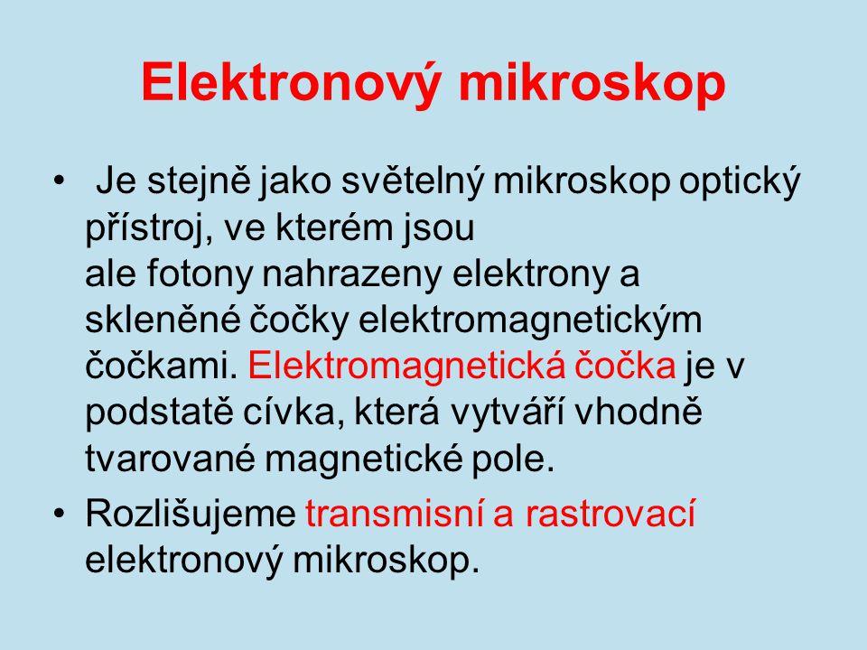Elektronový mikroskop Je stejně jako světelný mikroskop optický přístroj, ve kterém jsou ale fotony nahrazeny elektrony a skleněné čočky elektromagnet