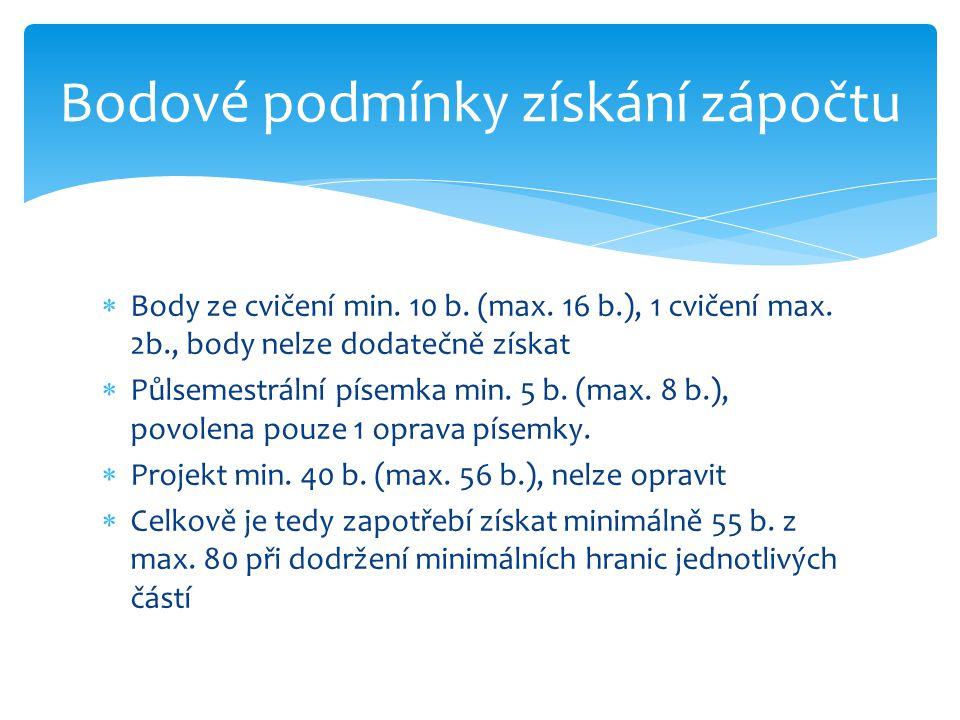  Body ze cvičení min.10 b. (max. 16 b.), 1 cvičení max.