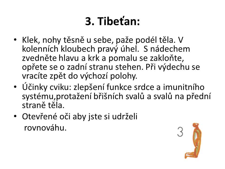 3. Tibeťan: Klek, nohy těsně u sebe, paže podél těla. V kolenních kloubech pravý úhel. S nádechem zvedněte hlavu a krk a pomalu se zakloňte, opřete se