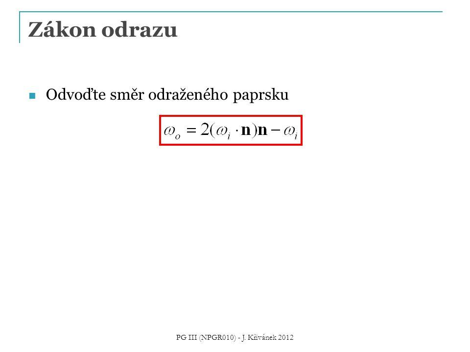 Zákon odrazu Odvoďte směr odraženého paprsku PG III (NPGR010) - J. Křivánek 2012