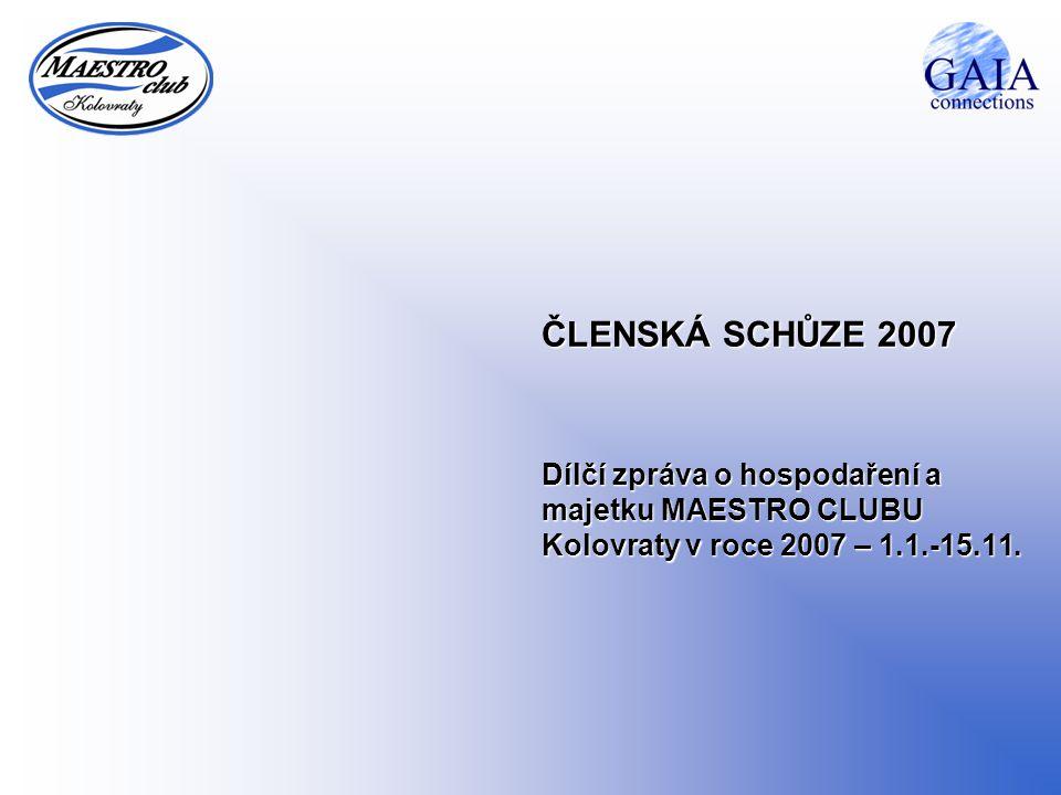 21.8.20142 VÝKONNÝ VÝBOR – Dílčí zpráva o hospodaření a majetku Dílčí zpráva o hospodaření a majetku MAESTRO CLUBU Kolovraty v roce 2007 za období 1.1.-15.11.2007 Zůstatky finančního majetku běžný účet u RaiffeisenBank zůstatek k 15.11.2007111 020,00 pokladna zůstatek k 15.11.200714 797,00 FINANČNÍ MAJETEK CELKEM:125 817,00