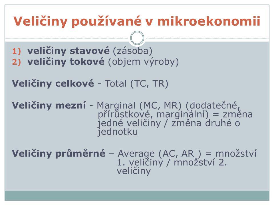 Veličiny používané v mikroekonomii 1) veličiny stavové (zásoba) 2) veličiny tokové (objem výroby) Veličiny celkové - Total (TC, TR) Veličiny mezní - M