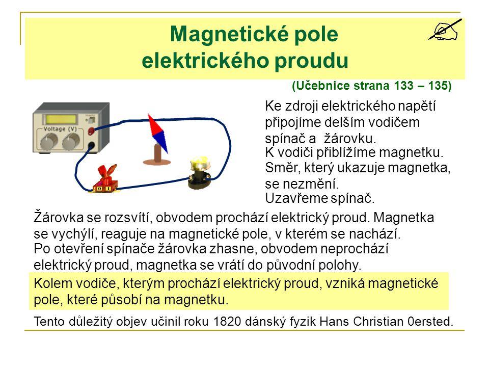 Magnetické pole elektrického proudu (Učebnice strana 133 – 135) Ke zdroji elektrického napětí připojíme delším vodičem spínač a žárovku. K vodiči přib